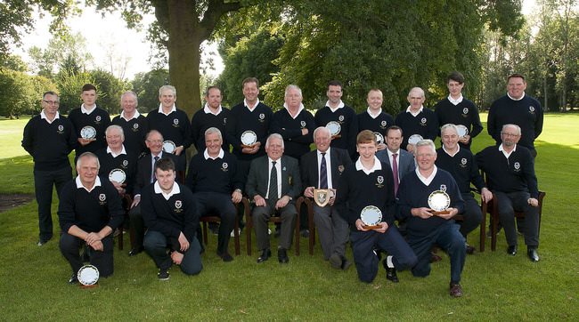 Runners up, Clontarf.  Front (l to r): Michael Kellett, Stephen Kealy, Sean Kellett and Turlough Considine. Centre: Tony Duffy, Sean Carroll, President, Dave Henry, Team Manager, John Ferriter, Chairman of Leinster Golf,  Peter Mulvey, Captain, John Read, FBD, Brian Mooney and Ian Maguire, Vice-Captain. Back: Stephen Walsh, Padraig Rice, Sean Stone, Greg Kelly, Michael Fahy, Paul Congdon, Gerry Keevey, Philip Duffy, Paul O'Brien, Patrick Byrne and Conor Murphy. Photo: Ronan Quinlan