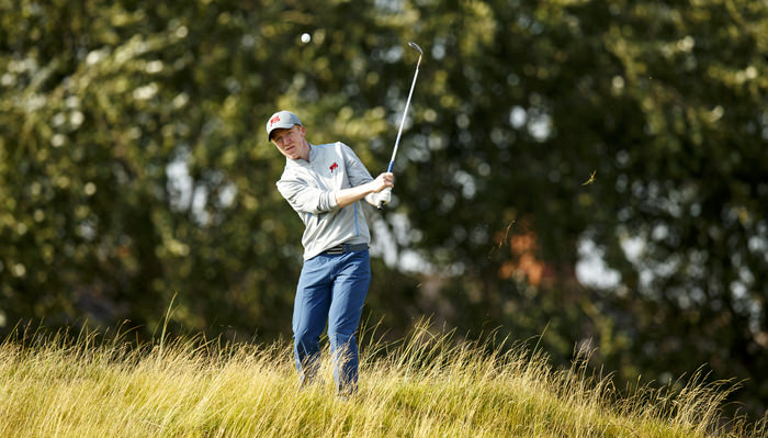 Gavin Moynihan watches his pitch shot on the seventh hole during a practice round ahead of the 2015 Walker Cup at Royal Lytham & St. Annes G.C. in Lytham St Annes, Lancashire on Friday, Sept. 11, 2015. (Copyright USGA/John Mummert)