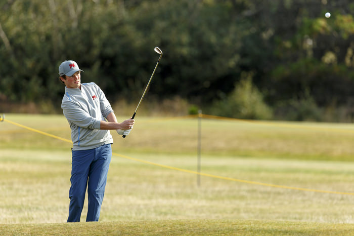 Cormac Sharvin plays a pitch shot on the fifth hole during a practice round ahead of the 2015 Walker Cup at Royal Lytham & St. Annes G.C. in Lytham St Annes, Lancashire on Friday, Sept. 11, 2015. (Copyright USGA/Chris Keane)