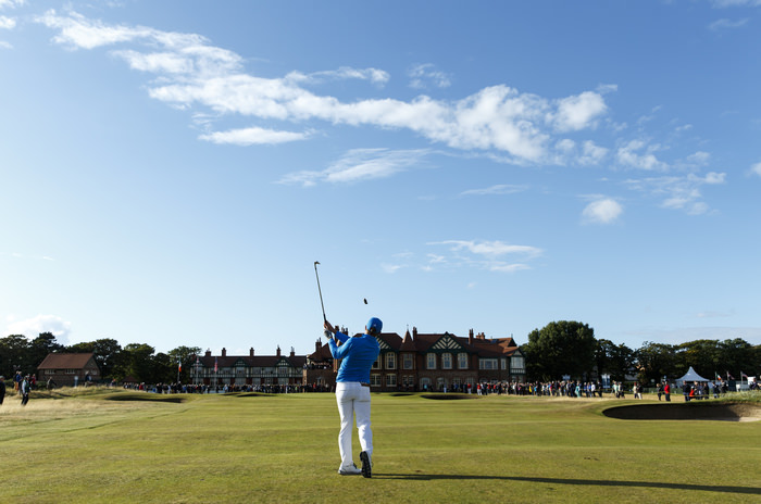 Paul Dunne plays his second shot on the 18th hole during an afternoon singles match at the 2015 Walker Cup at Royal Lytham & St. Annes G.C. in Lytham St Annes, Lancashire on Saturday, Sept. 12, 2015. (Copyright USGA/John Mummert)