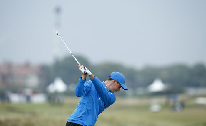 Gary Hurley plays his tee shot on the fourth hole during the morning foursomes matches of the 2015 Walker Cup at Royal Lytham & St. Annes G.C. in Lytham St Annes, Lancashire on Saturday, Sept. 12, 2015. (Copyright USGA/John Mummert)
