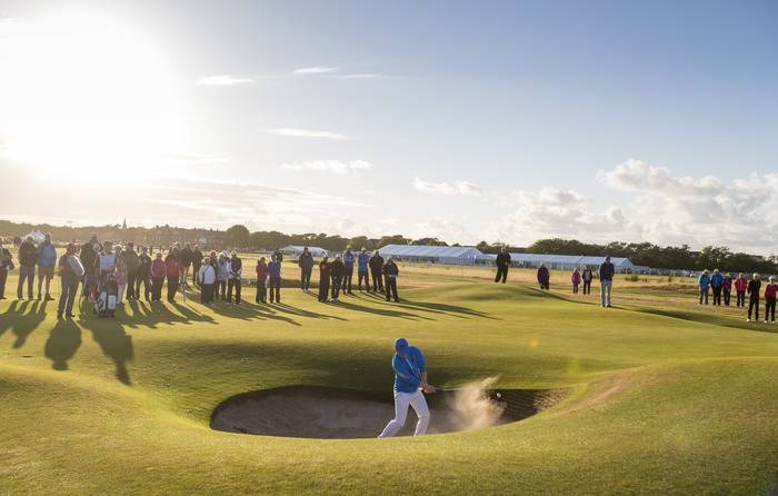 Gavin Moynihan blasts out of a bunker on the 16th hole during an afternoon singles match at the 2015 Walker Cup at Royal Lytham & St. Annes G.C. in Lytham St Annes, Lancashire on Saturday, Sept. 12, 2015. (Copyright USGA/Chris Keane)