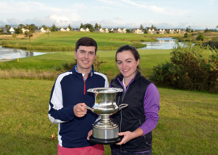 Chloe Ryan (Castletroy) and Andrew McCormack (Newcastle West) with the 2015 East of Ireland Mixed Foursomes Championship trophy  after their victory at the KClub today (13/09/2015). Picture by Pat Cashman