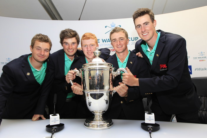 Naas' Jack Hume, Ardglass' Cormac Sharvin, The Island's Gavin Moynihan, Greystones' Paul Dunne and West Waterford's Gary Hurley pose with the Walker Cup at Royal Lytham St Annes, Lytham St Annes, Lancashire, England. 13/09/2015 Picture Golffile | Fran Caffrey