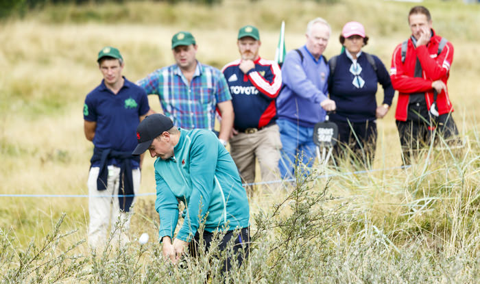 Paul Dunne plays the fourth shot on the seventh hole hole during a morning foursomes match at the 2015 Walker Cup at Royal Lytham & St. Annes G.C. in Lytham St Annes, Lancashire on Sunday, Sept. 13, 2015.  (Copyright USGA/John Mummert)