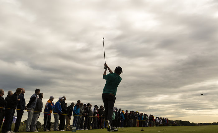 Cormac Sharvin plays his tee shot on the seventh hole during a morning foursomes match at the 2015 Walker Cup at Royal Lytham & St. Annes G.C. in Lytham St Annes, Lancashire on Sunday, Sept. 13, 2015.  (Copyright USGA/Chris Keane)