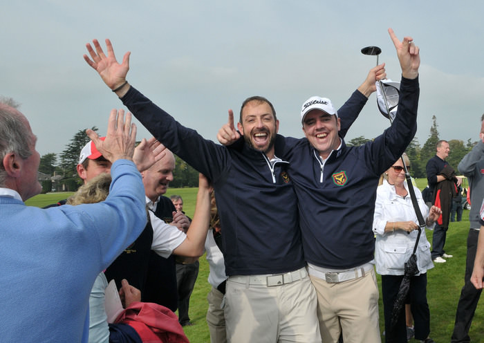 Niall Gorey and Dave O'Donovan (Muskerry) celebrate their win on the 18th green to clinch victory in the final of the AIG Barton Shield at Carton House in 2014. Picture by  Pat Cashman