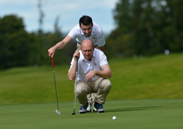 Joe Lyons and Stephen Brady (Galway) lining up their putt on the 12th green during the AIG Barton Shield semi final  at Carton House. Picture by  Pat Cashman