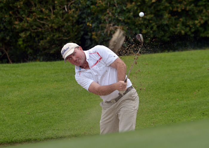 Fergus Rothwell (Westport) bunkered at the 17th green during the AIG Junior Cup semi final. Picture by  Pat Cashman