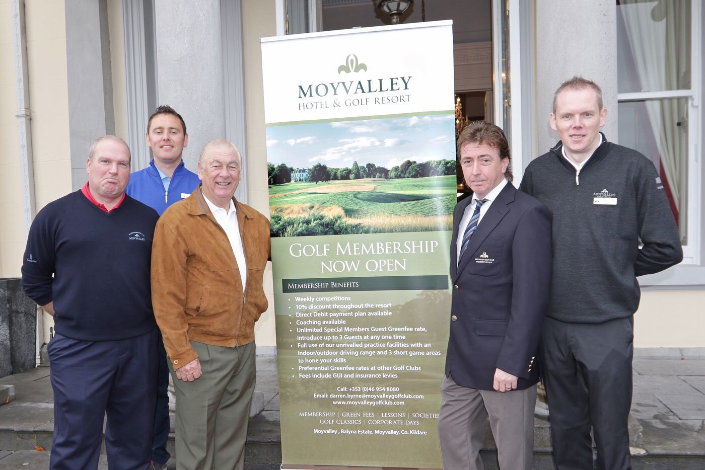 (L-R) Alan Walsh (Course Superintendent), Brendan Mackay (Assistant PGA Professional), Christy O'Connor Jnr, Michael Doherty - (President) and Darren Byrne (PGA Professional) at Moyvalley Hotel & Golf Resort, Co. Kildare.