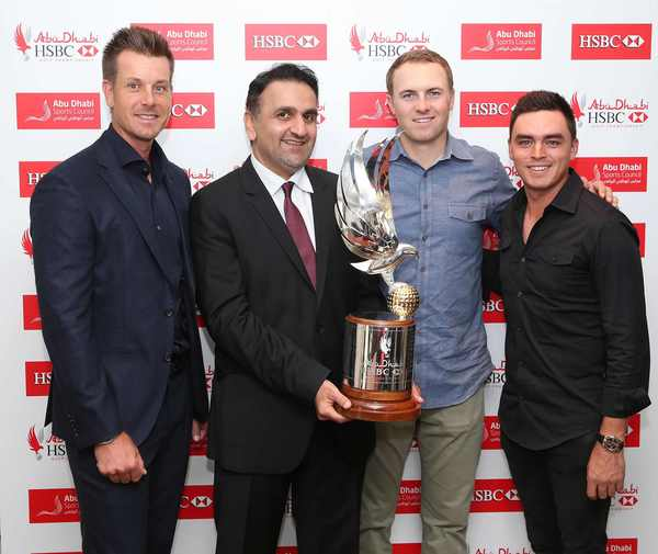 His Excellency Aref Al Awani (ADSC) with Henrik Stenson, Jordan Spieth and Rickie Fowler, who will be joined by Rory McIlroy for a desert showdown in Abu Dhabi in January.