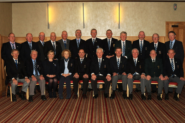 The Officers and Provincial Council of the Munster Branch, Golfing Union of Ireland pictured after the Annual Delegates Meeting.  24th November 2015, Hibernian Hotel Mallow.  Back row (L-R): Tom Keane (Ballybunion), Brian Punch (Castletroy), Joe Rouine (Adare Manor), Gordon Adair (Douglas), Dave Prendergast (Cork), Michael Coote (Tralee) Kevin Glynn (Lahinch), Jim Lyne (Glengarriff), John Carroll (Bandon), Pat Dunne (Roscrea), Barry Lynch (Raffeen Creek), Kevin Murray (Tramore) Front row (L-R) Tom Donnelly (Youghal), Michael P Murphy (Newcastle West), Margaret Sugrue (Admin), Karen Walsh (EO), Peter English (Limerick - Hon Treasurer), John K Moloughney (Templemore – Chairman), Jim Long (Monkstown – Hon Secretary), Liam Harkin (Muskerry – Hon Match & Handicap Secretary), Sean O'Leary (Mahon), John Fennessy (Clonmel). Picture: Niall O'Shea