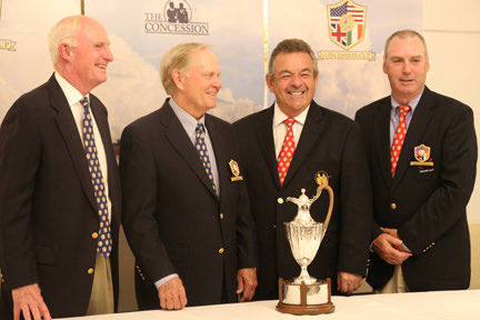 GB&I playing captain Garth McGimpsey with Jack Nicklaus and Tony Jacklin during the 2014 Concession Cup