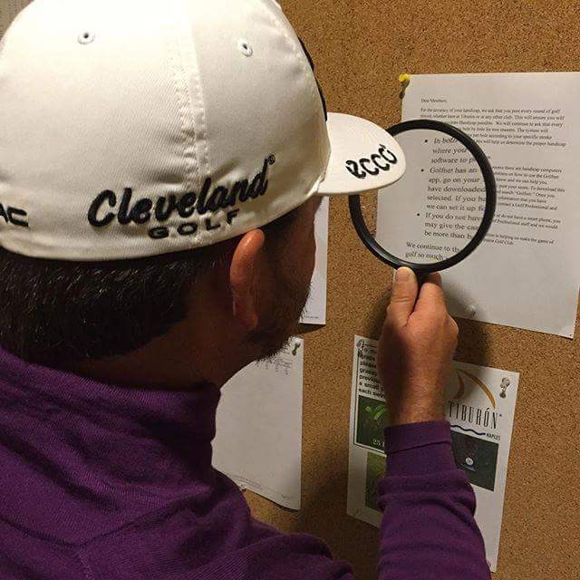 """""""Needed a bit of help to read the notices at Tiburon Golf Club, luckily they have some help to hand..."""" @FTShootout' Graeme McDowell sees the funny side."""