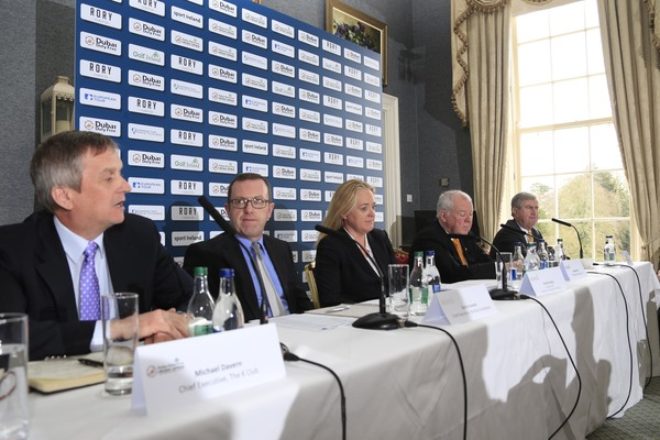 Announcing details of the Dubai Duty Free Irish Open clubs initiative are (l-r) Michael Davern, Chief Executive, The K Club;Barry Funston, Chief Executive, the Rory Foundation;Antonia Beggs, European Tour;George Horan, President Dubai Duty Free and Redmond O'Donoghue, Chairman of the Confederation of Golf in Ireland (CGI).Picture © Golffile | Fran Caffrey