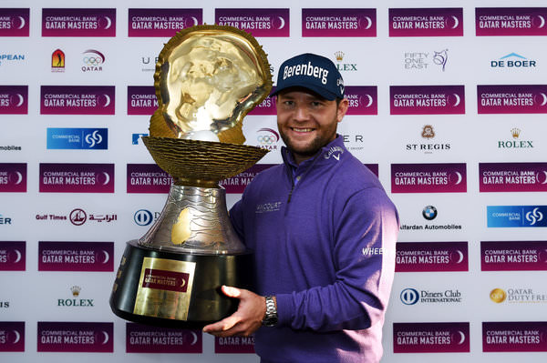 Branden Grace with the 2016 Commercial Bank Qatar Masters trophy. Picture: Getty Images