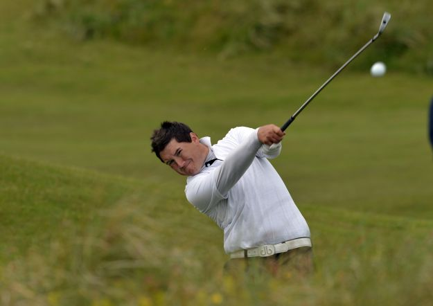 Colm Campbell (Ulster) playing from the rough at the 13th hole during the second day of the 2015 Interprovincial Championship at Rosapenna. Picture by  Pat Cashman