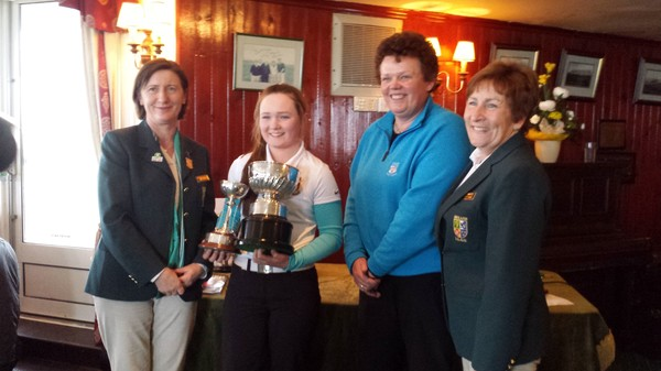 Valerie Clancy receives her trophies at Waterville