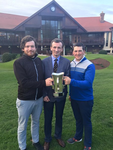 Grange Vice Captain John J Nolan with winners Ryan Gribben and Colm Campbell Jnr