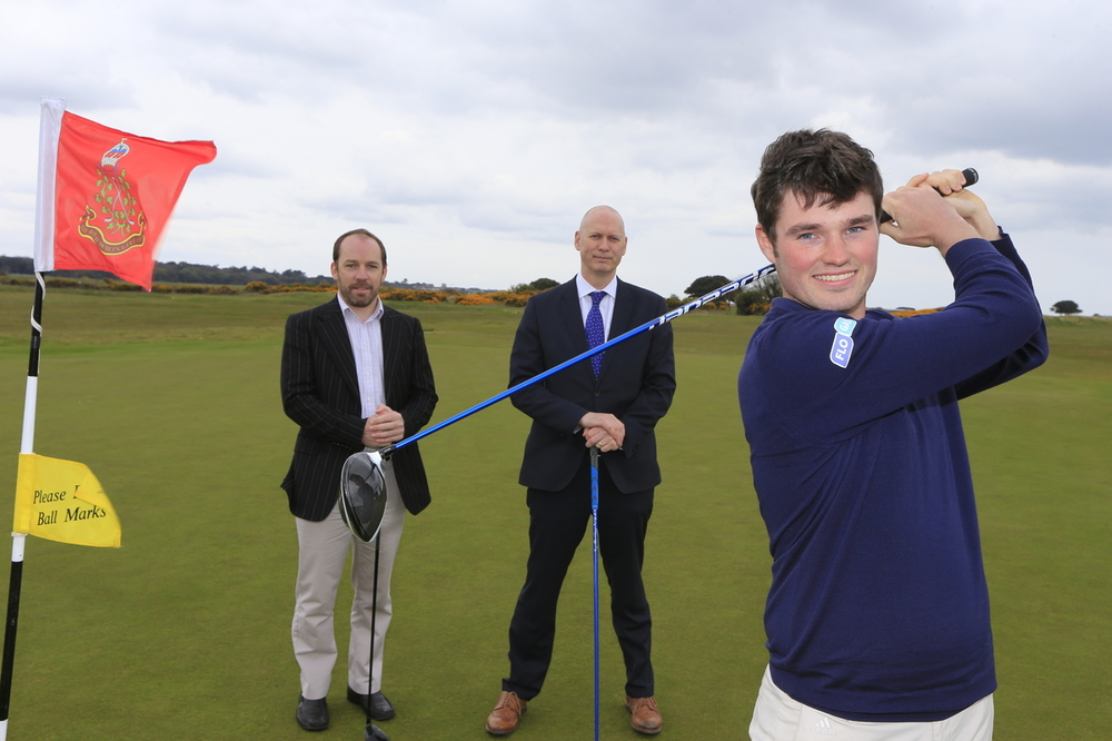 Pictured at The Royal Dublin Golf Club at the announcement of Flogas as Irish Amateur Open sponsors are Cormac Sharvin, with Pat Finn (CEO, GUI) and John Rooney (Managing Directpr, Flogas). Picture: GUI/Golffile.