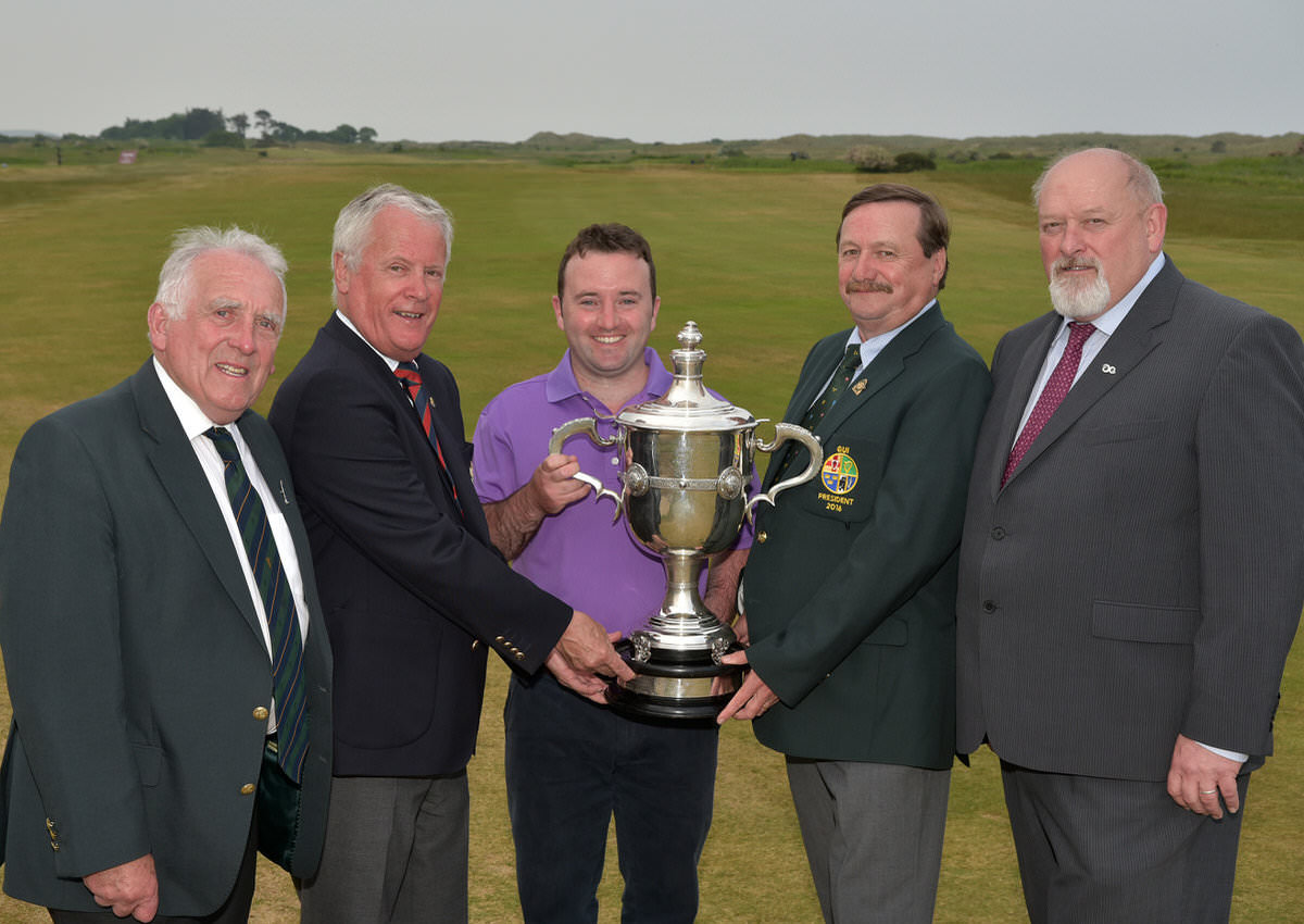 Kevin McIntyre (President, Golfing Union of Ireland) presenting Paul O'Hanlon (Carton House) with the City North Hotel sponsored East of Ireland Championship trophy. Also in the picture (from left) John Ferriter (Chairman, Leinster Golf, GUI), Frank Gannon (Captain, Co Louth Golf Club) and Peter Byrne (City North Hotel). Picture by  Pat Cashman