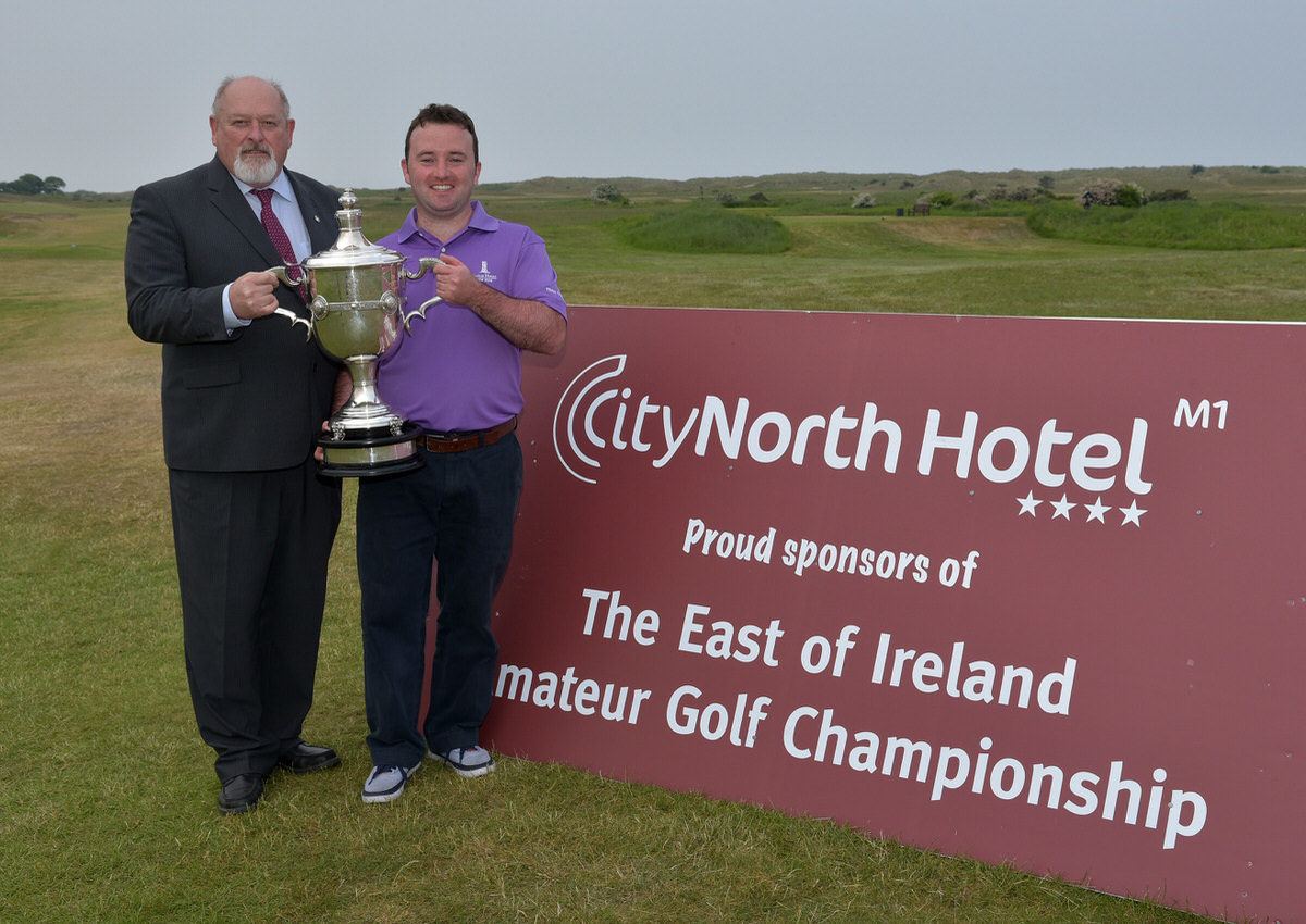 Paul O'Hanlon (Carton House) pictured with Peter Byrne (City North Hotel) after his victory at the City North Hotel sponsored East of Ireland Championship at County Louth Golf Club today (06/06/2016). Picture by  Pat Cashman