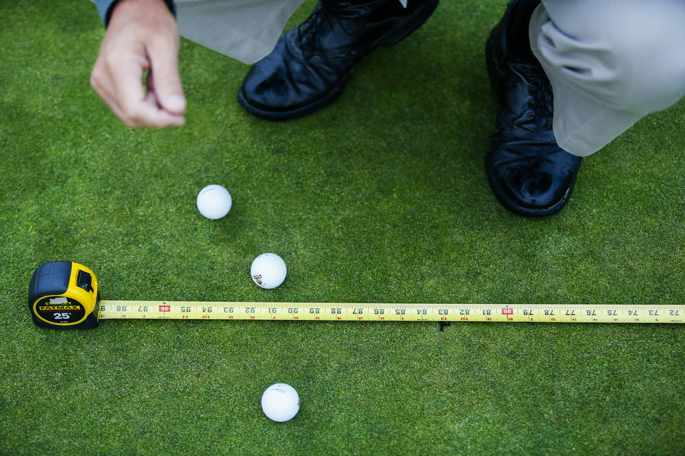Measurements on the first hole during a practice round for the 2016 U.S. Open at Oakmont Country Club in Oakmont, Pa. on Wednesday, June 15, 2016. (Copyright USGA/Joel Kowsky)