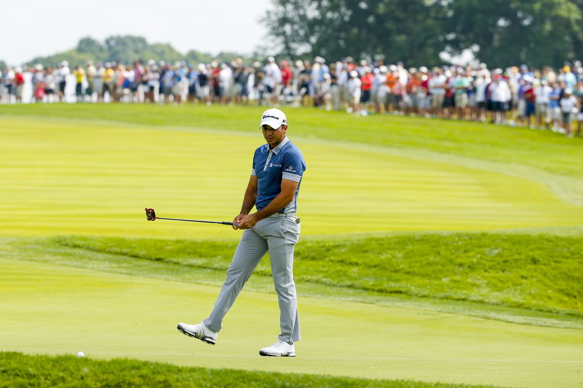 Jason Day reacts to a missed birdie putt on the fourth hole during the first round of the 2016 U.S. Open at Oakmont Country Club in Oakmont, Pa. on Friday, June 17, 2016. (Copyright USGA/Michael Cohen)