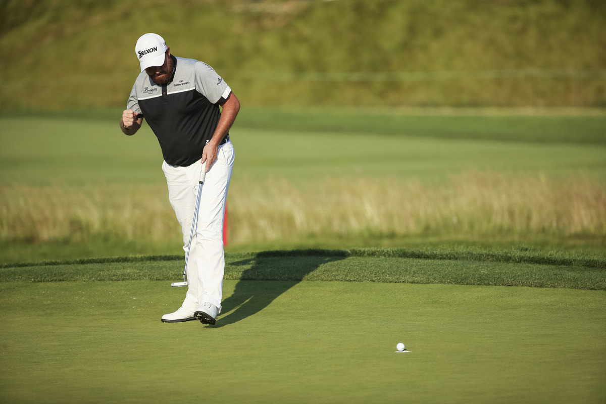Shane Lowry saves par on the 13th hole during the final round of the 2016 U.S. Open at Oakmont Country Club in Oakmont, Pa. on Sunday, June 19, 2016. (Copyright USGA/Darren Carroll)