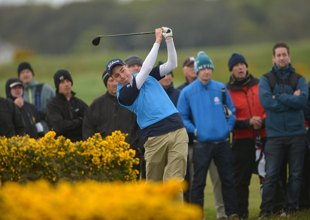 Kevin LeBlanc (The Island) playing his second shot to the 18th green in final round of the 2015 Irish Amateur Open Championship at The Royal Dublin Golf Club (10/05/2015). Picture by  Pat Cashman