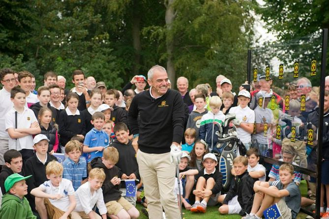 Paul McGinley during a clinic at  Grange Golf Club