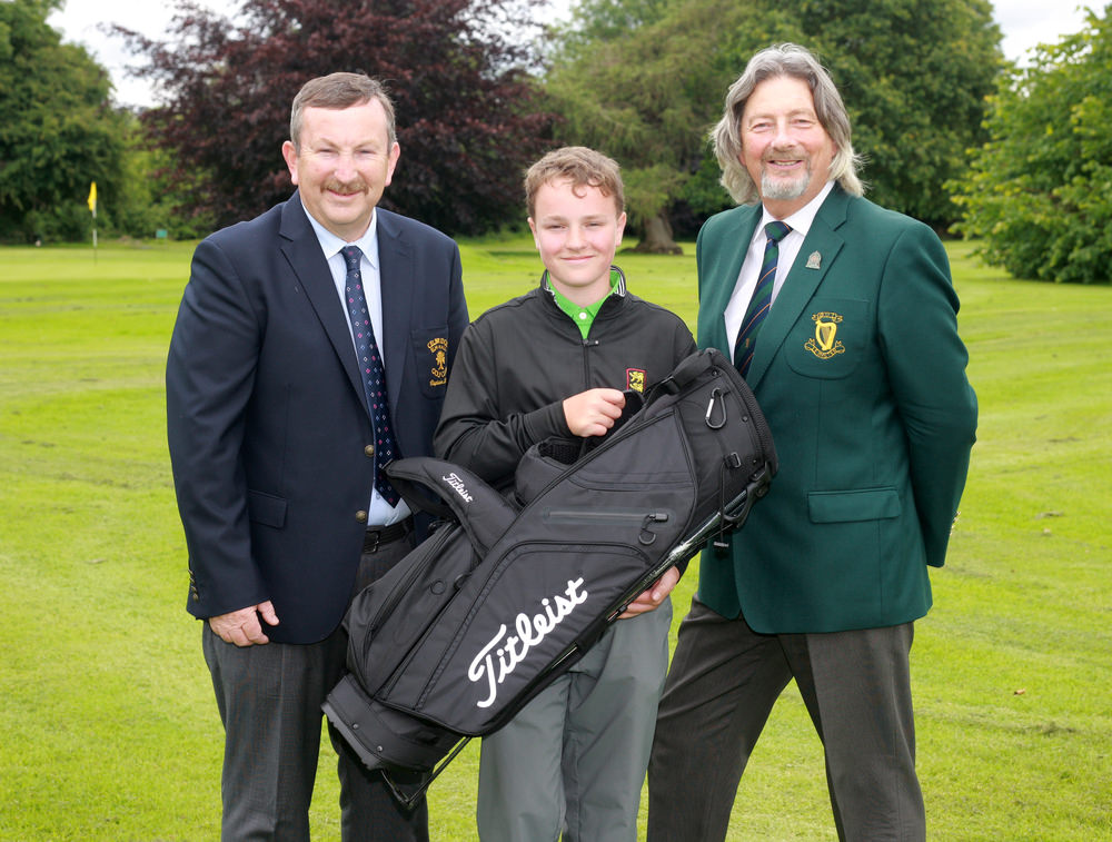 Winner of the Leinster Boys U13 at Elm Hall, Celbridge,Ciaran Mahon (Kilcock golf club) with Elm Hall Captain, Brian McGovern and Henry Lee, Leinster Golf. Picture: Ronan Lan