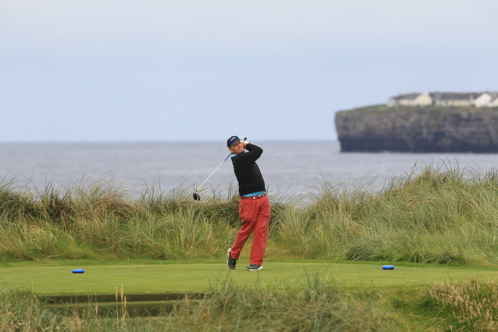 Arthur Pierse (Tipperary) on the 4th tee during the second round of the South of Ireland Amateur Open Championship at Lahinch Golf Club. 22nd July 2016. Picture:  Golffile | Thos Caffrey