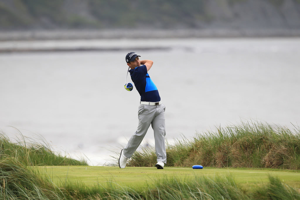 Daniel Holland (Castle) on the 7th tee during his quarter-final win over Arthur Pierse in the South of Ireland Amateur Open Championship at Lahinch Golf Club. 23rd July 2016. Picture:  Golffile | Thos Caffrey