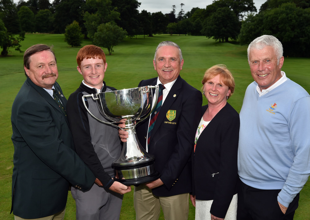 Gerry Austin (Captain, Mullingar Golf Club) presenting Ronan Mullarney (Galway) with the 2016 Mullingar Electrical Scratch Trophy after his victory at Mullingar Golf Club ( 01/08/2016). Also in the picture are Kevin McIntyre (President, Golfing Union of Ireland), Ann Marie Conlon (sponsor) and Marcus Conroy (Captain, Galway Golf Club).Picture by  Pat Cashman