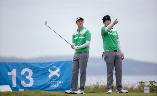 John Ross Galbraith and Colm Campbell during the foursomes. Picture:  www.scottishgolf.org/