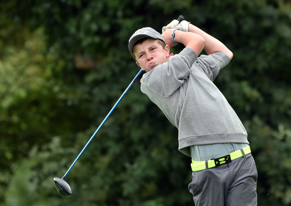 Winner Joseph Byrne (Baltinglass) driving at the 13th tee in the final of the 2016 Leinster Boys' Under 13 series Final (sponsored by Titleist) at Kilcock Golf Club (11/08/2016). Picture by  Pat Cashman
