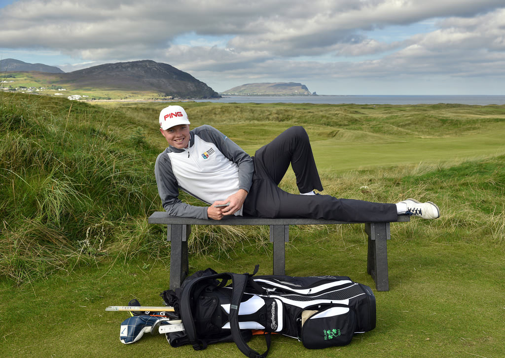 Robin Dawson (Tramore/ Maynooth University) one of the heros of the recent Home International matches relaxing on the 6th tee of the Glashedy Links during the practice round of the 2016 Irish Amateur Close Championship at Ballyliffin Golf Club. Picture by  Pat Cashman