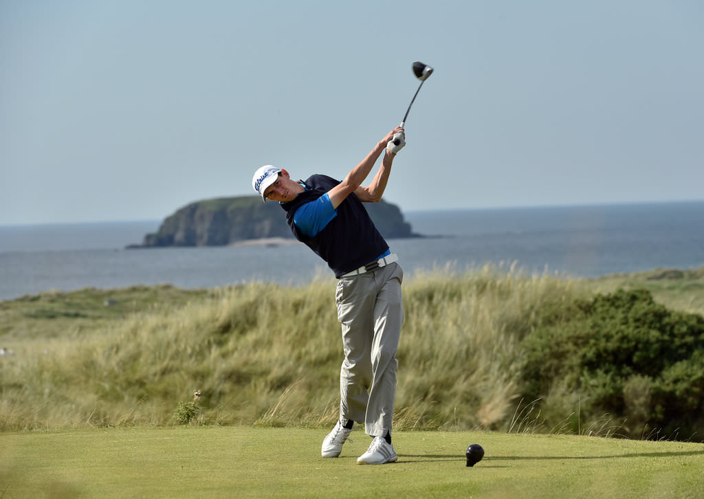 Defending champion Tiarnan McLarnon (Massereene) driving from the 6th tee on the Glashedy Links during a practice round for the 2016 Irish Amateur Close Championship at Ballyliffin Golf Club.(15/08/2016). Picture by  Pat Cashman