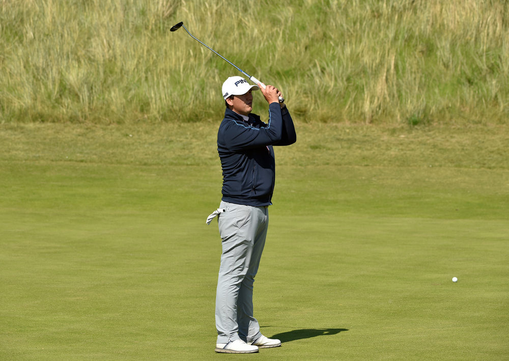 Colm Campbell (Warrenpoint) reacts to a missed birdie putt on the fifth green during the first strokeplay round of the 2016 Irish Amateur Close Championship at Ballyliffin Golf Club today (16/08/2016).Picture by  Pat Cashman