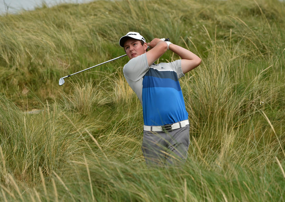 John Ross Galbraith (Whitehead) driving at the AIG Irish Amateur Close Championship at Ballyliffin Golf Club today (18/08/2016).  Picture by   Pat Cashman
