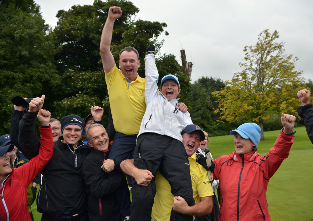 Shane O'Connor and Polly O'Reilly (Greystones) after winning their match on the 17th green and the 2016 I Need Spain Irish Mixed Foursomes All Ireland Final at Shandon Park Golf Club today (03/09/2016). Picture by  Pat Cashman