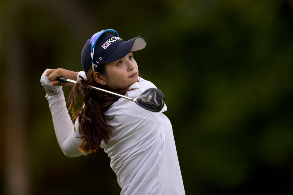 Hye jin Choi of Republic of Korea plays her tee shot at the par 4 second hole during the first round of the 2016 Espirito Santo Trophy at Iberostar Playa Paraiso Golf Club in Riviera Maya, on Wednesday, Sept. 14, 2016. (Copyright USGA/Steven Gibbons)