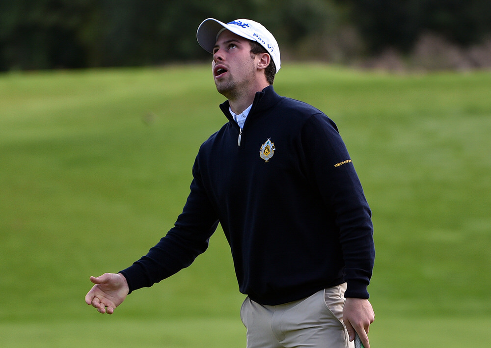 Alex Gleeson (Castle) reacts to a missed birdie putt on the 7th green in the semi final of the AIG Senior Cup at Carton House today (16/09/2016). Picture by Pat Cashman