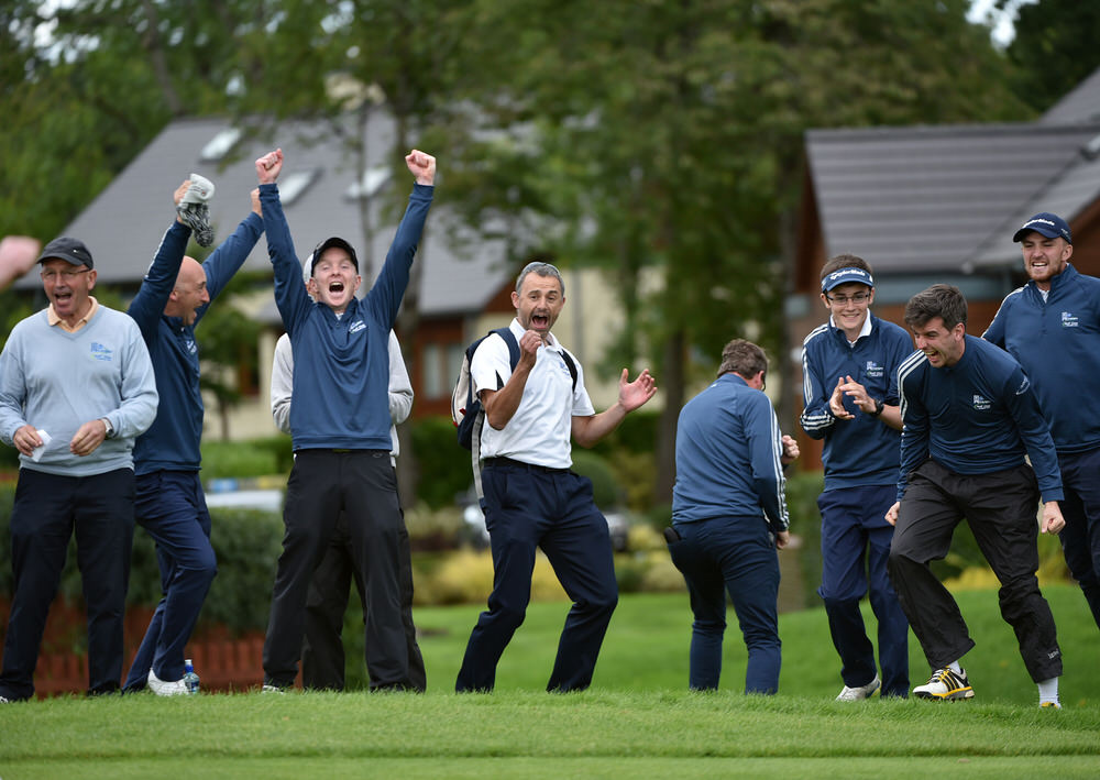 Athenry team members and supporters celebrate their victory on the 20th green in the semi final of the AIG Jimmy Bruen Shield at Carton House today (16/09/2016). Picture by Pat Cashma