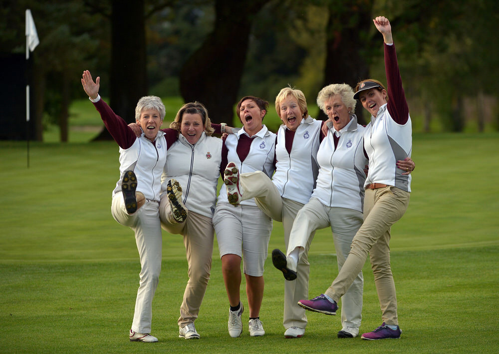The Royal Portrush Senior Foursomes team (from left) Helen Jones, Vivienne Houston, Shauna Park, Heidi Simpson, Carol Corrigan and Naoimh Quigg after their victory on the 19th green in the AIG Senior Foursomes Final at Dundalk Golf Club. Picture by  Pat Cashman