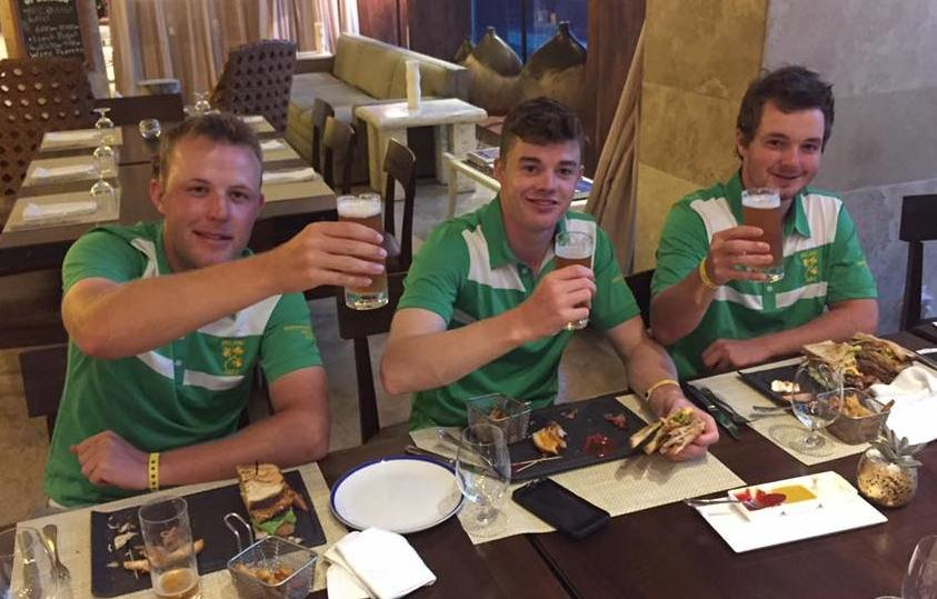 Sláinte: Paul McBride, Stuart Grehan and Jack Hume toast their historic bronze medal in the World Amateur Team Championship in Mexico