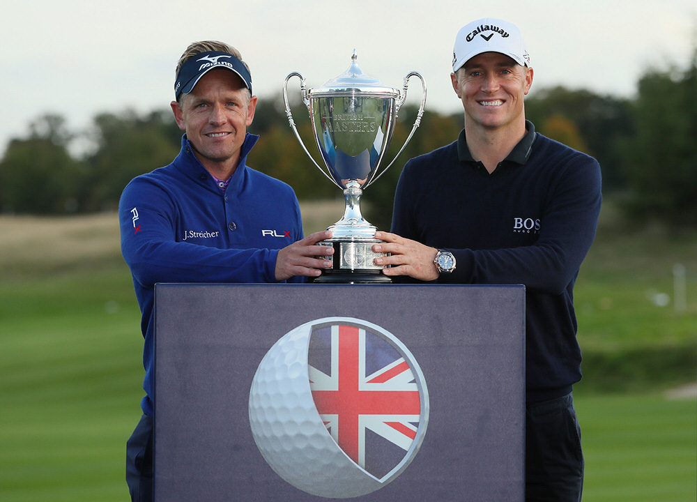 Alex Noren with tournament host Luke Donald. Picture:Getty Images