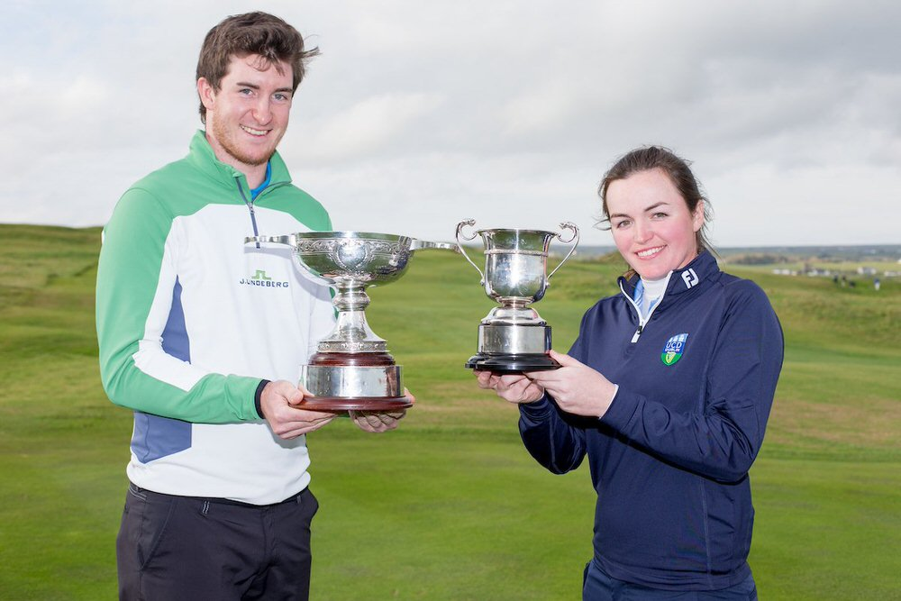 Caption: John Hickey and Chloe Ryan with their trophies at the Irish Intervarsity Championships in Lahinch - image courtesy of  Golffil