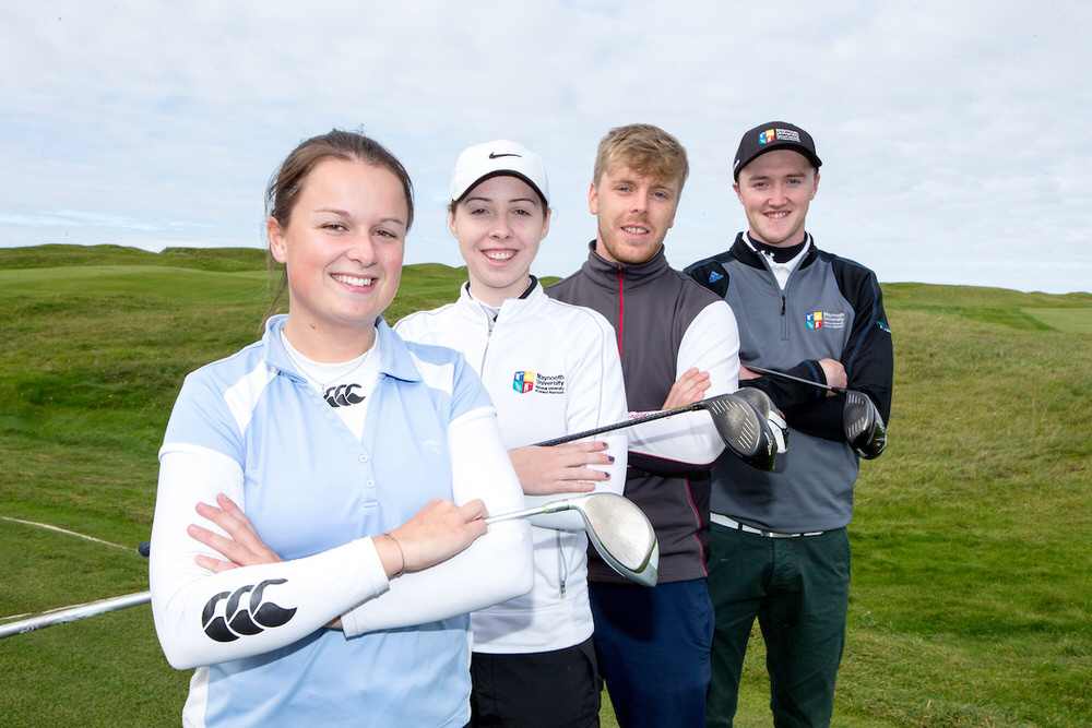 Ruth Dillon (UCD) Meadhbh Doyle (MU) and David Foy (UL) and Eugene Smith (MU) at the launch of the Irish Students' Series at Lahinch. Picture: Golffile | Fran Caffrey